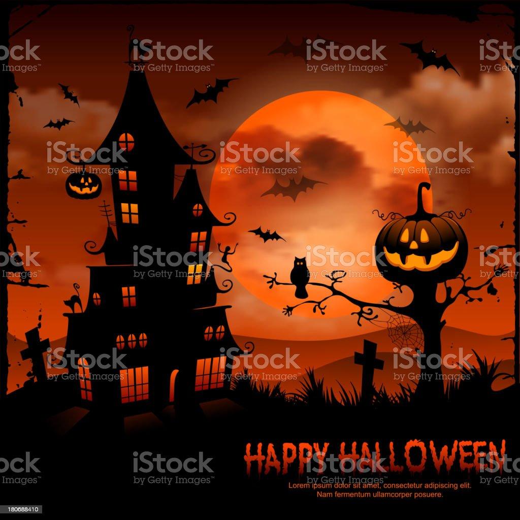 Halloween scene with pumpkin and haunted house vector art illustration