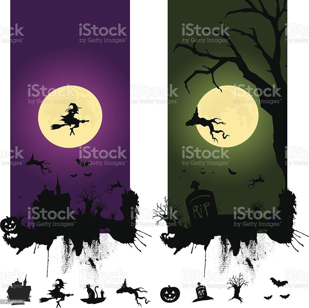 halloween scenes royalty-free stock vector art