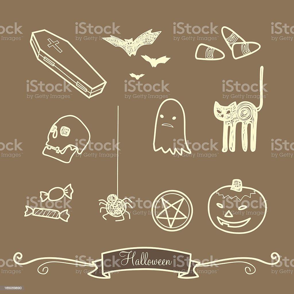 halloween scribbles royalty-free stock vector art