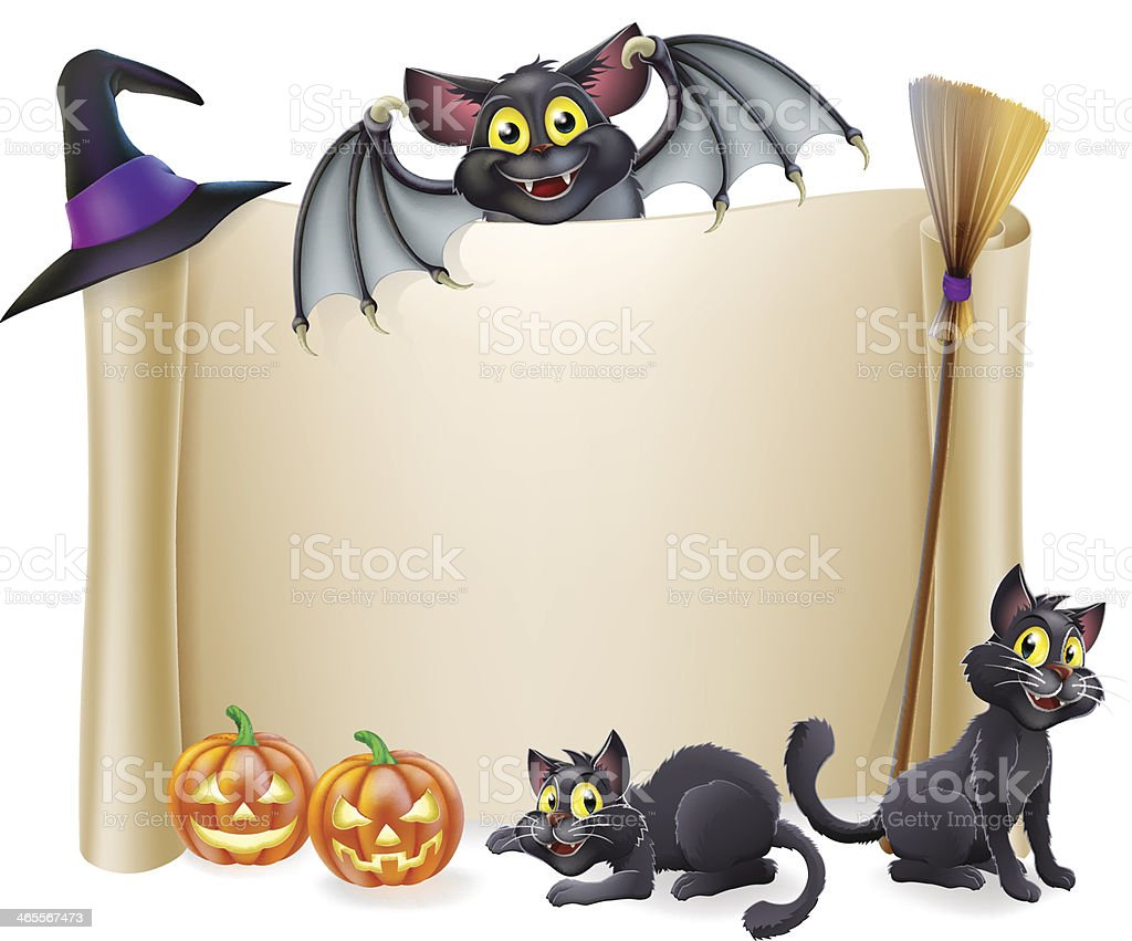 Halloween scroll sign and bat royalty-free stock vector art