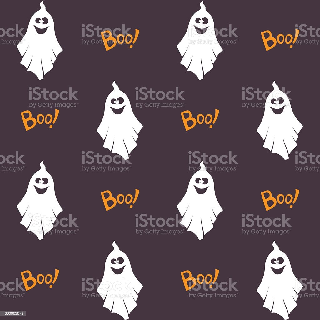 Halloween seamless pattern with ghosts vector art illustration