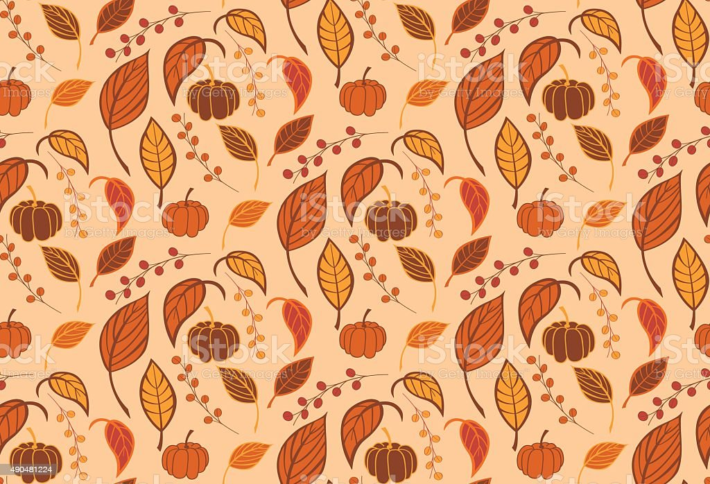 Halloween seamless pattern with pumpkins and leaves vector art illustration