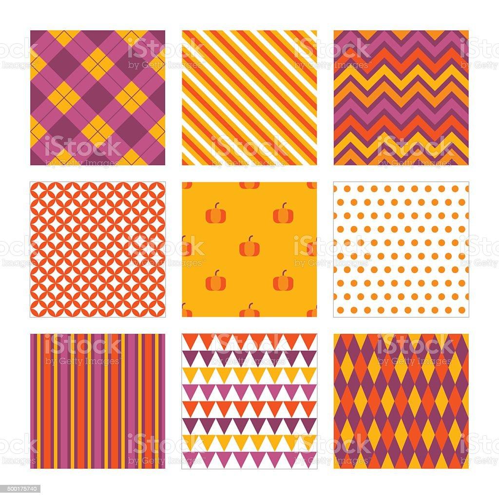 Halloween seamless patterns. Argyle, Chevron, Diamond, Pumpkins, Polka Dot, Stripes vector art illustration