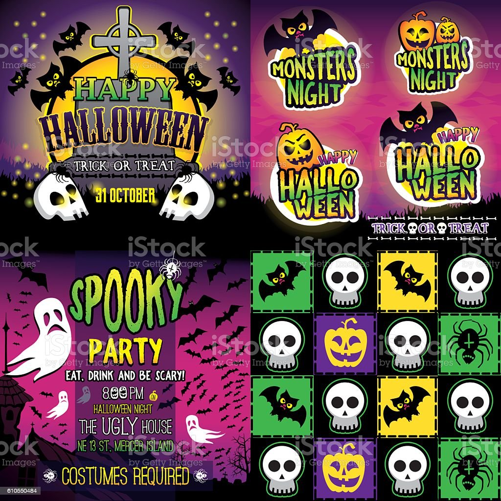 Halloween Set of card, stickers, invitation and seamless pattern vector art illustration