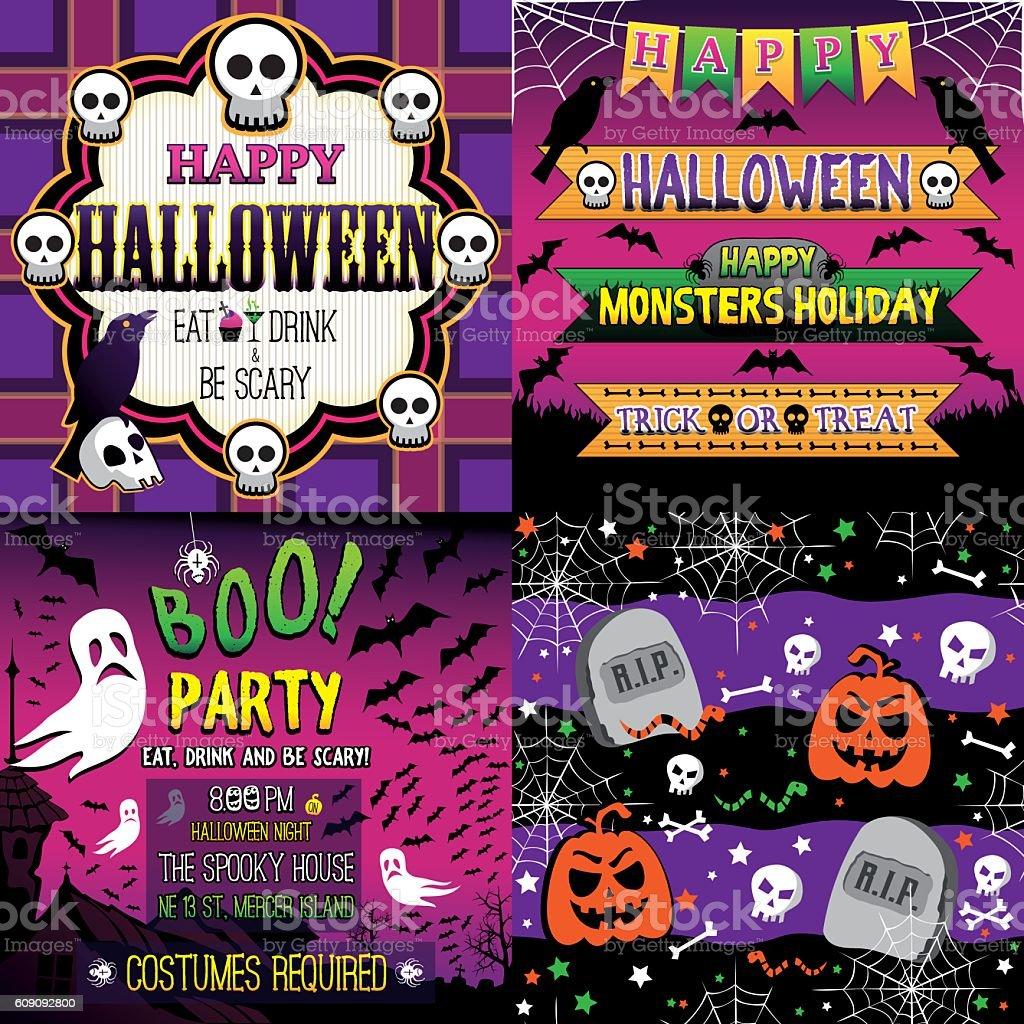 Halloween Set of frame, ribbons, invitation and seamless pattern vector art illustration