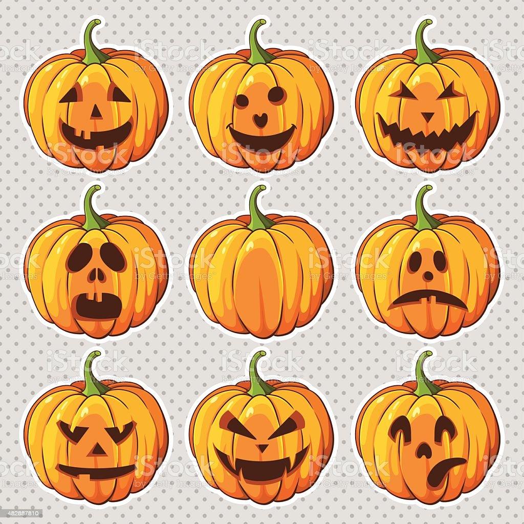 Halloween set with pumpkins vector art illustration