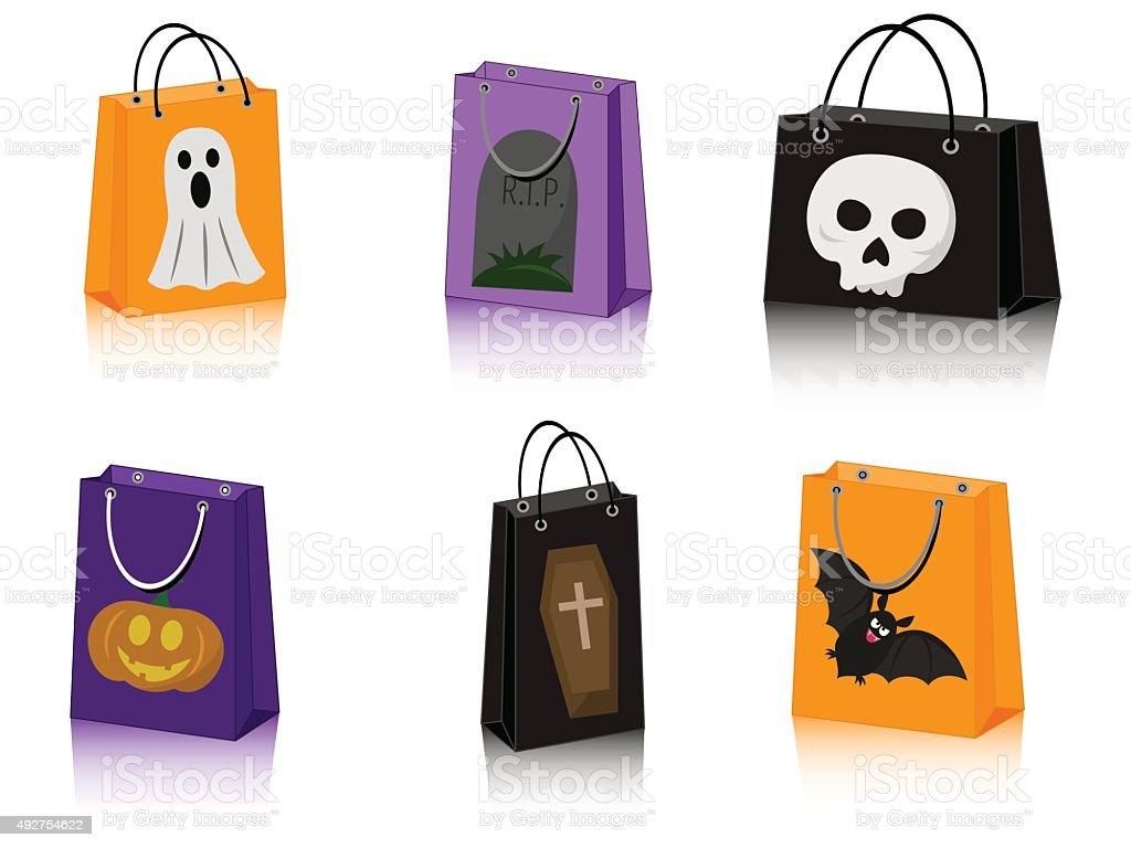 Halloween shopping bags vector art illustration