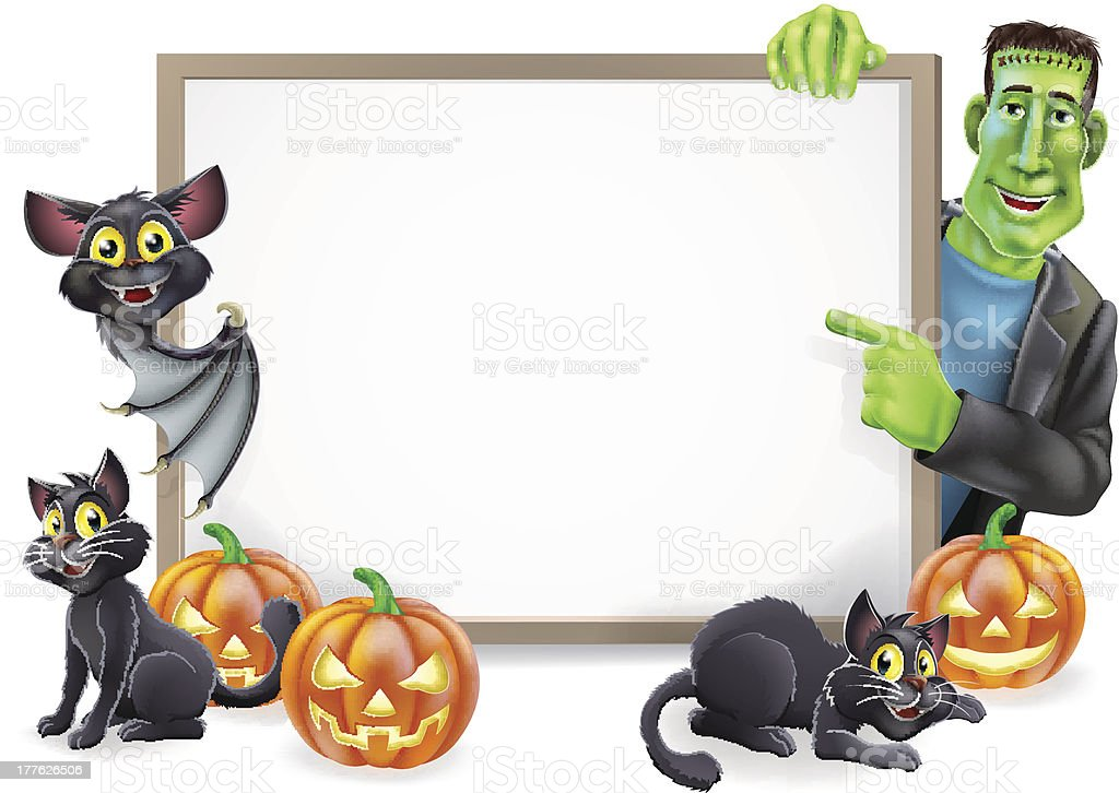 Halloween Sign with Bat and Frankenstein royalty-free stock vector art