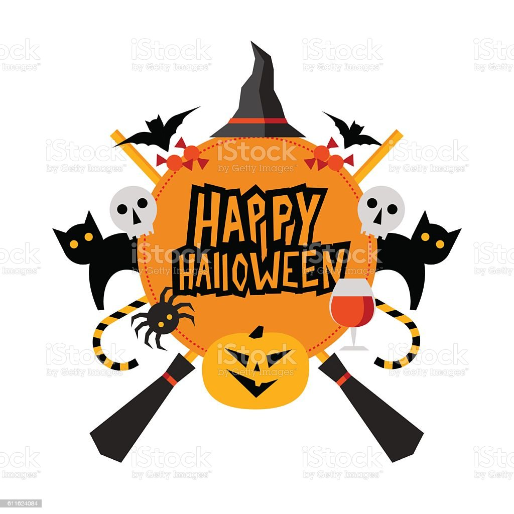 Halloween sign with pumpkin, bats, cats, spider, witches hat, br vector art illustration