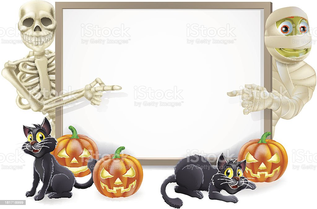 Halloween Sign with Skeleton and Mummy royalty-free stock vector art
