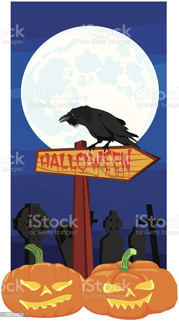 halloween - signpost and raven royalty-free stock vector art