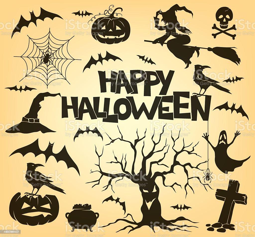 Halloween silhouette set vector art illustration