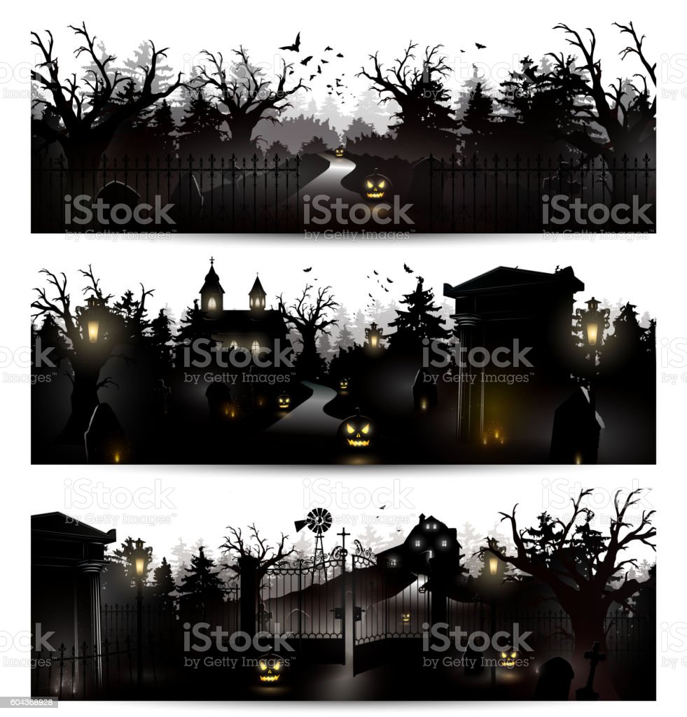 Halloween silhouettes vector art illustration