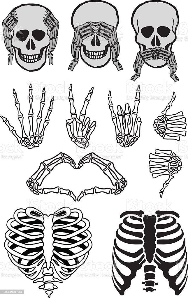Halloween skull set, vector vector art illustration