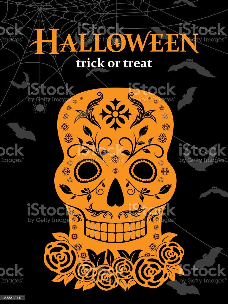 Halloween Skull vector art illustration