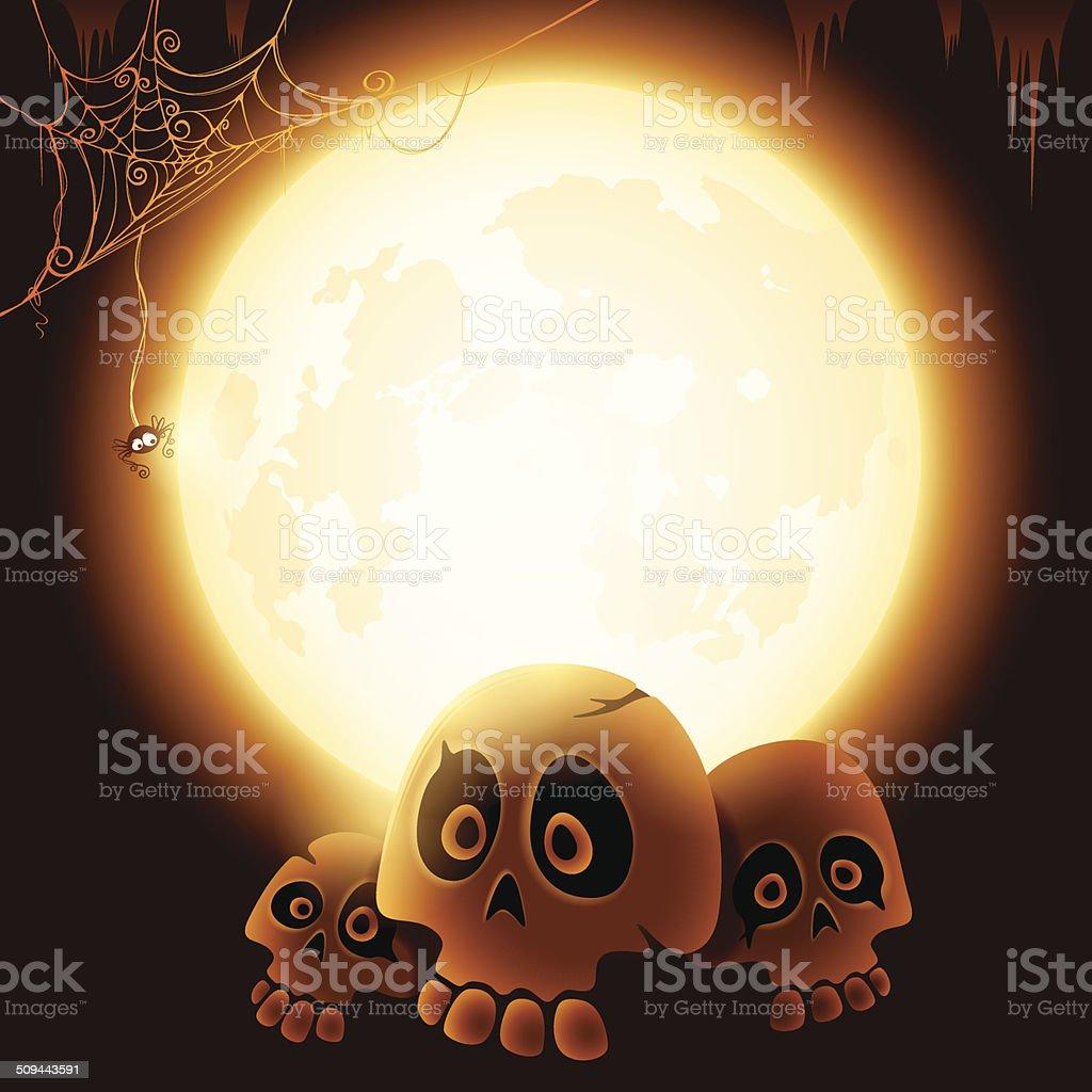 Halloween skulls under the moonlight royalty-free stock vector art