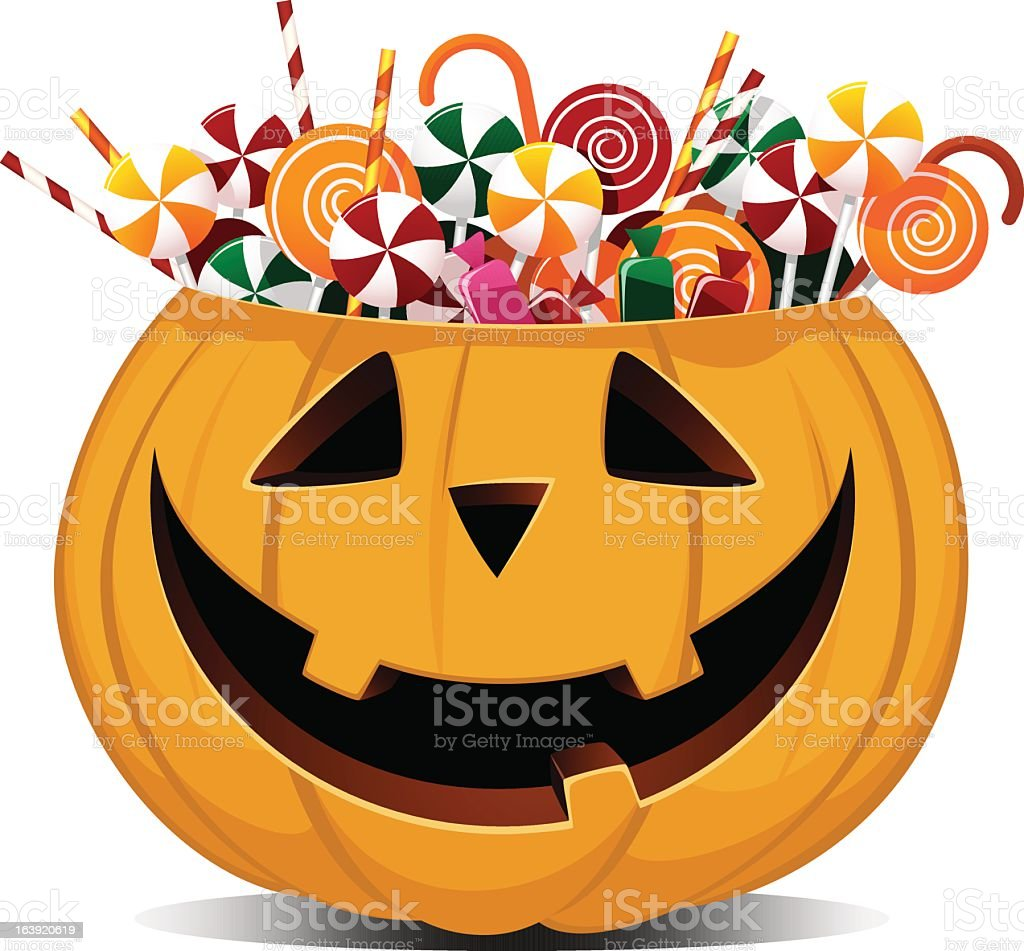 Halloween smiling pumpkin full of sweets and candies vector art illustration