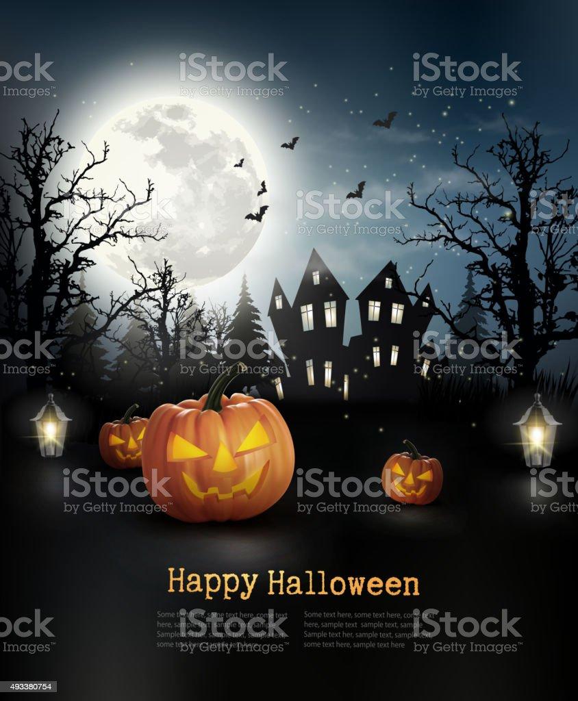Halloween spooky background. Vector vector art illustration