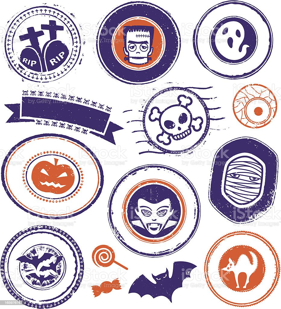 Halloween Stamps and Seals royalty-free stock vector art