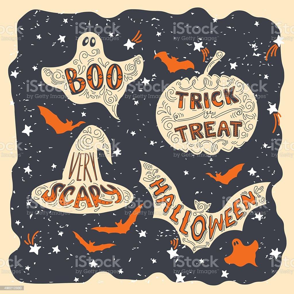 Halloween symbols vector art illustration