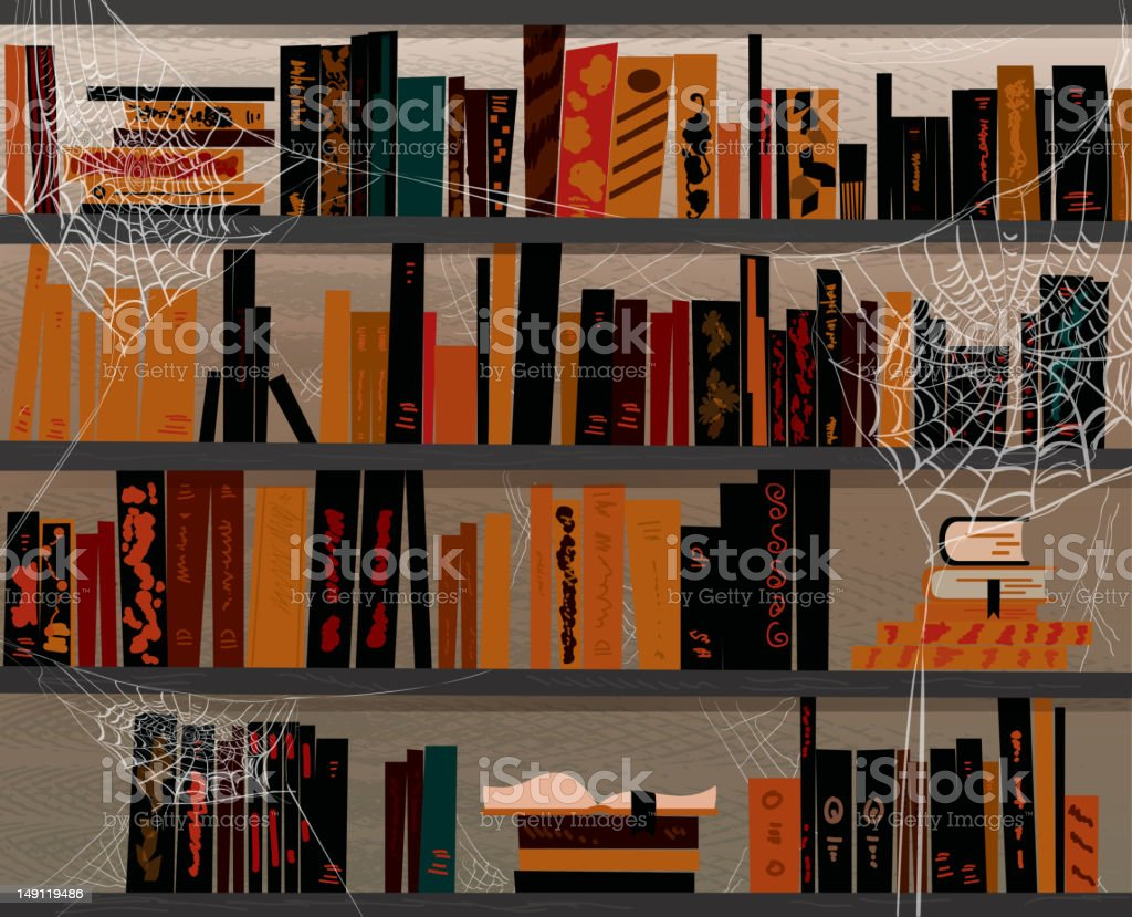 Halloween themed book library with cobwebs vector art illustration