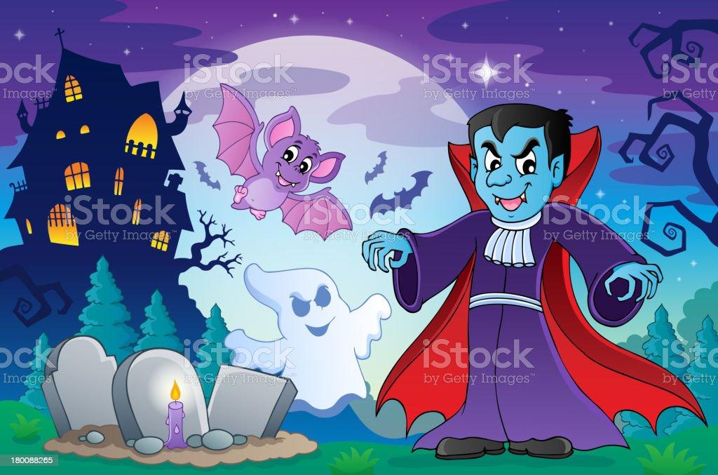 Halloween topic scene 4 royalty-free stock vector art