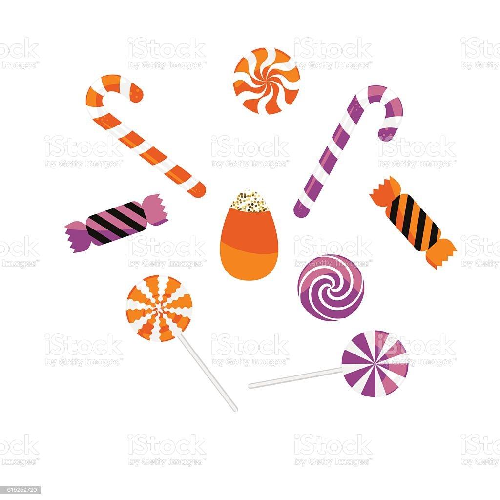 Halloween treat caramel candies vector set. vector art illustration