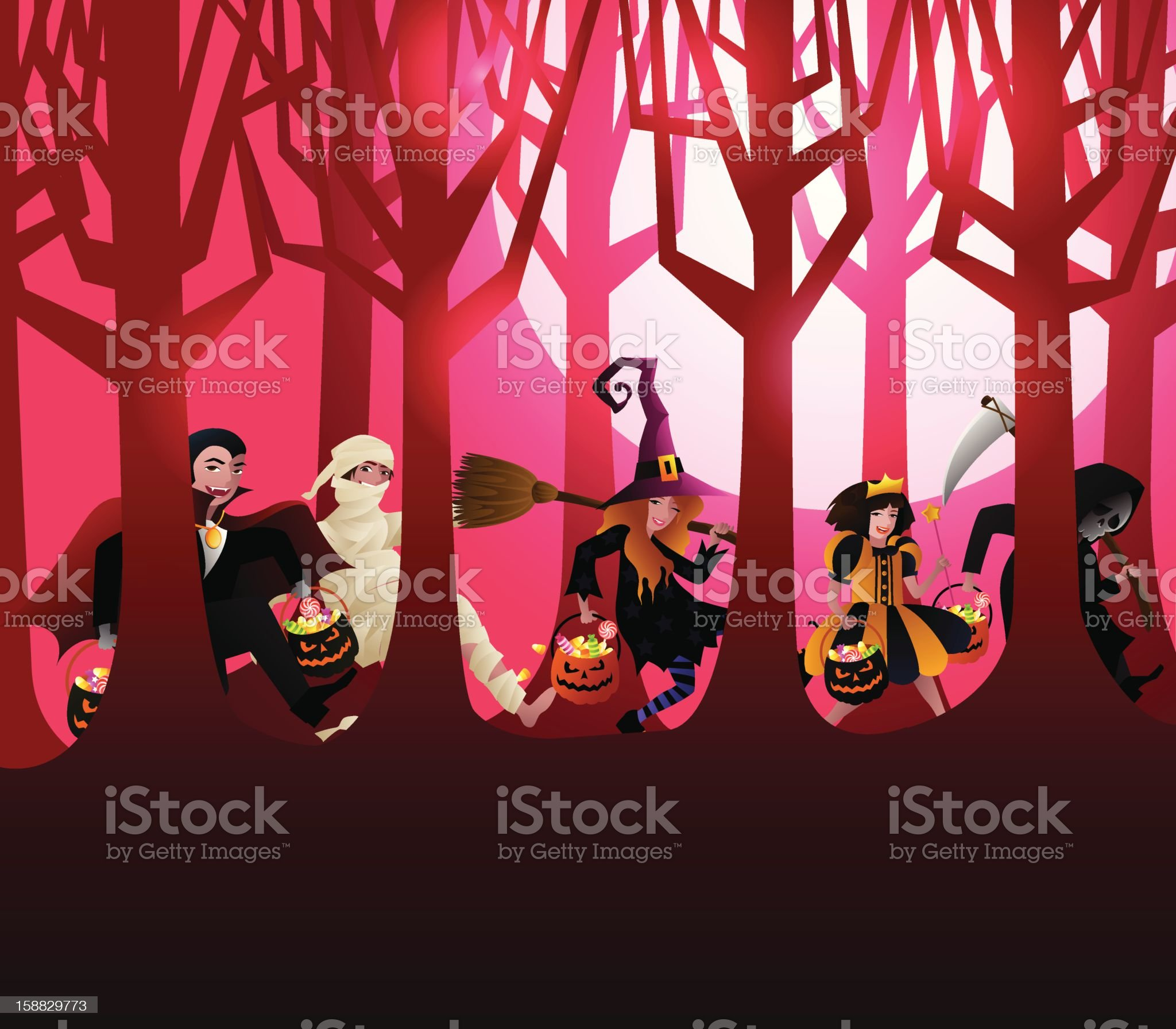 Halloween Trick or Treat Background Vector royalty-free stock vector art