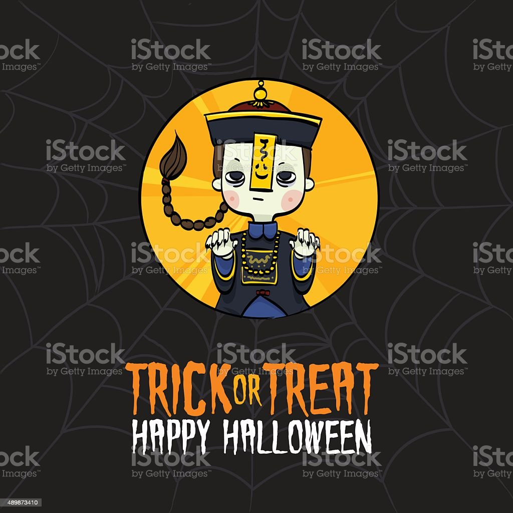 Halloween Trick or Treat Chinese Zombie Costume vector art illustration
