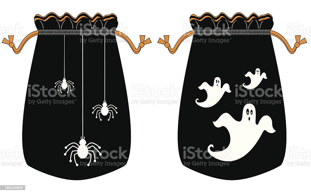 Halloween Trick or Treat Drawstring Bags vector art illustration