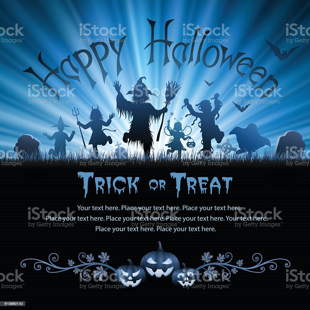 Halloween Trick Or Treaters vector art illustration
