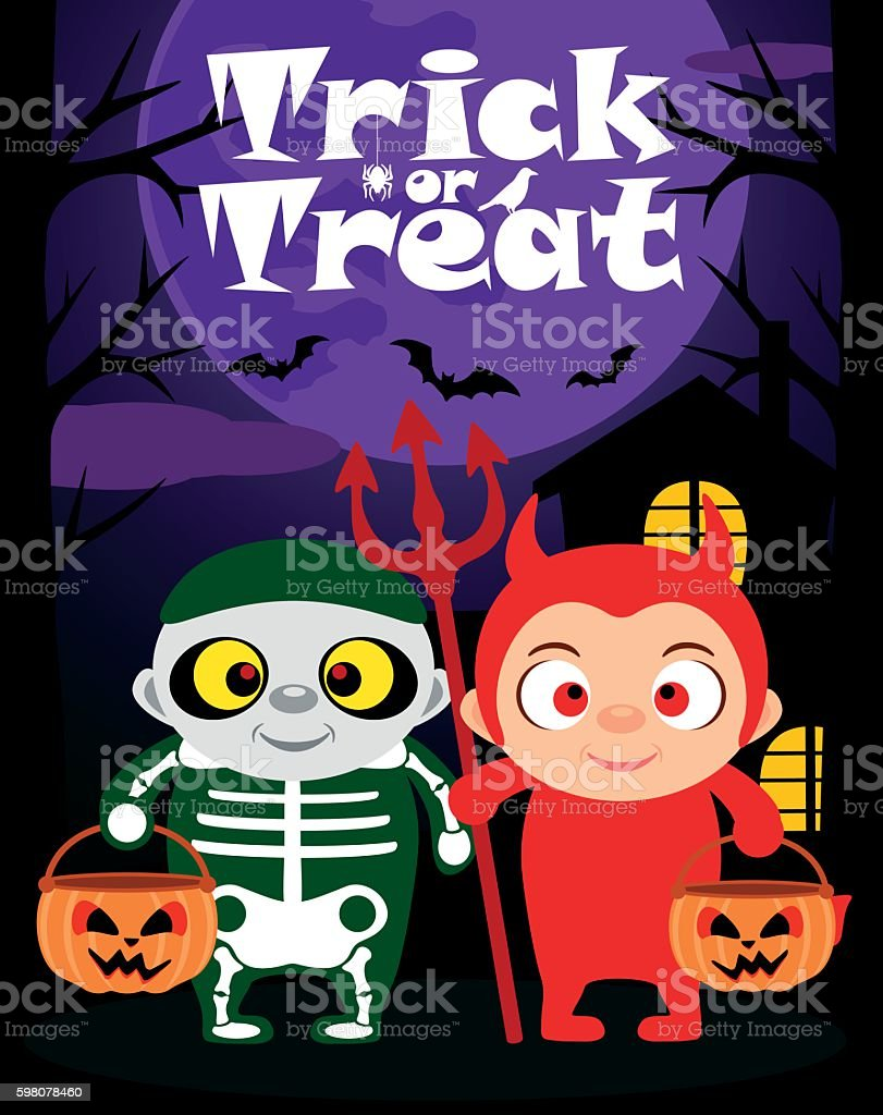 Halloween trick or treating background with children vector art illustration