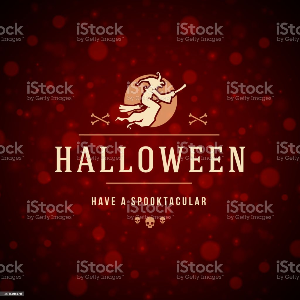 Halloween Typographic Design Vector Background and Witch vector art illustration