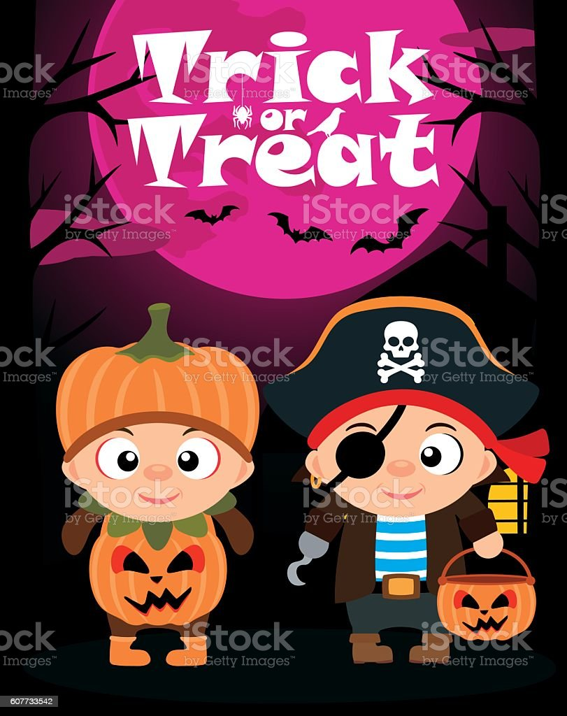 Halloween vector background trick or treating with children vector art illustration