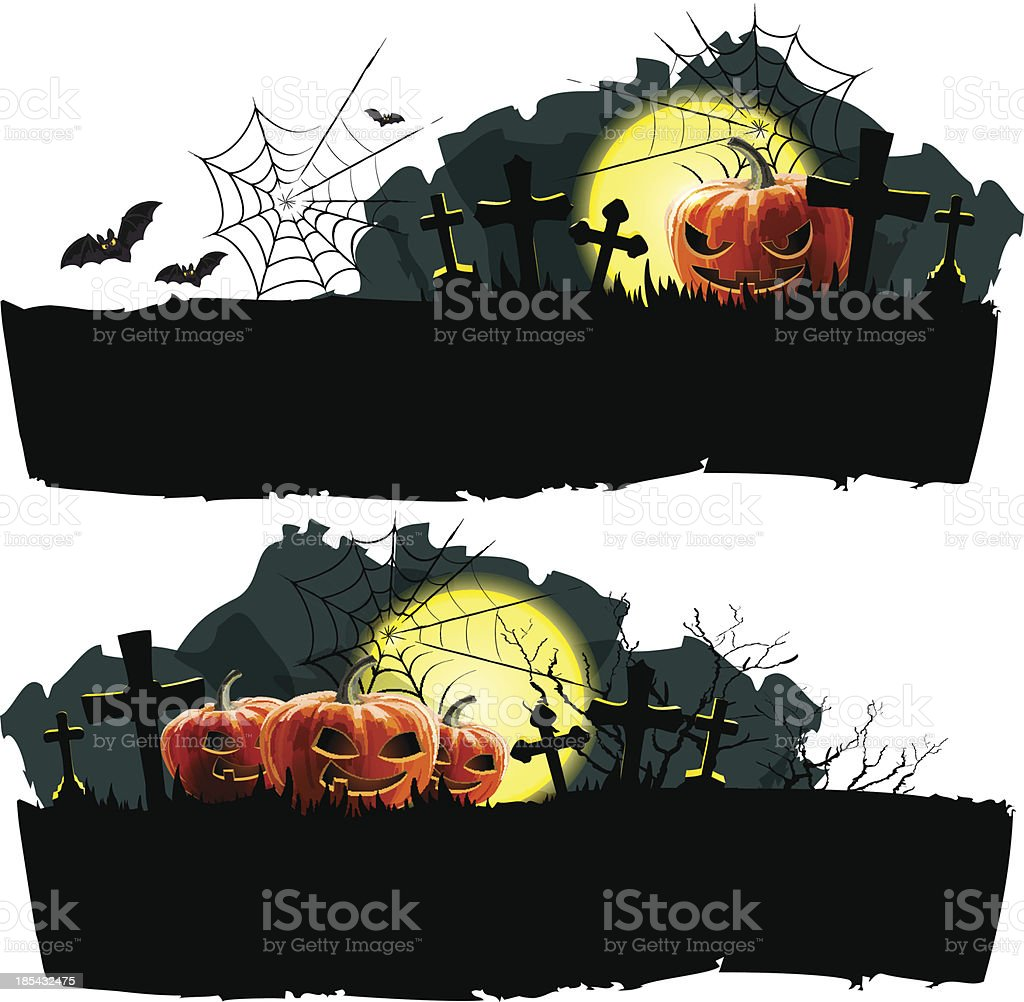 Conjunto de banner de vetor de Halloween vetor e ilustração royalty-free royalty-free