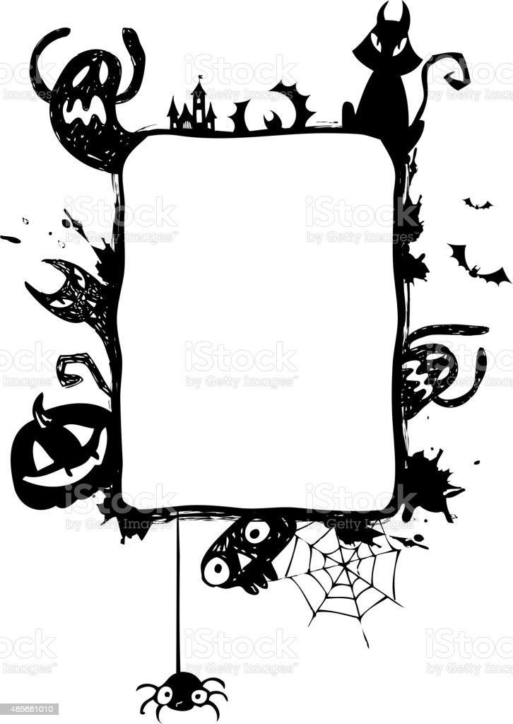 Halloween vector frame. vector art illustration