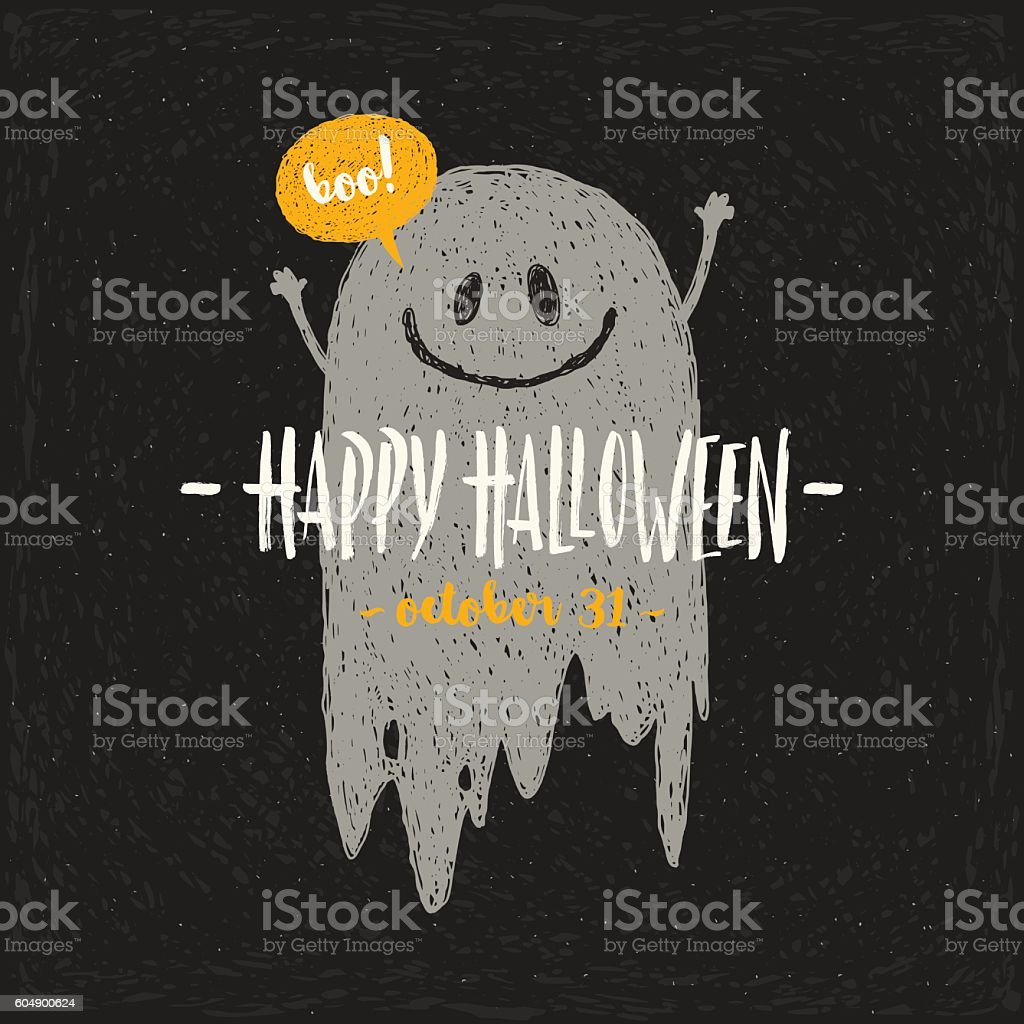 Halloween vector illustration with hand drawn ghost and greeting. vector art illustration