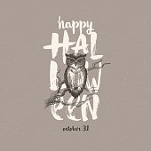 Halloween vector illustration with hand drawn greeting and owl.