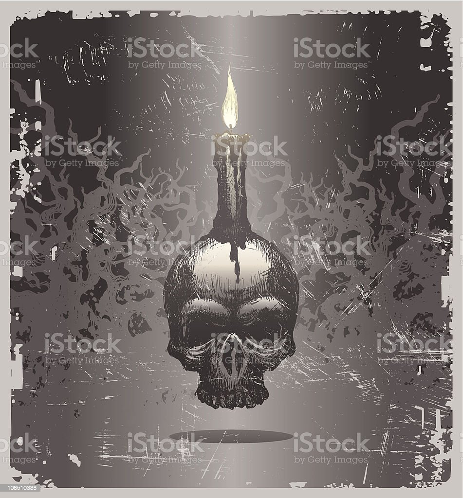 Halloween vector illustration with hand drawn skull and candle vector art illustration