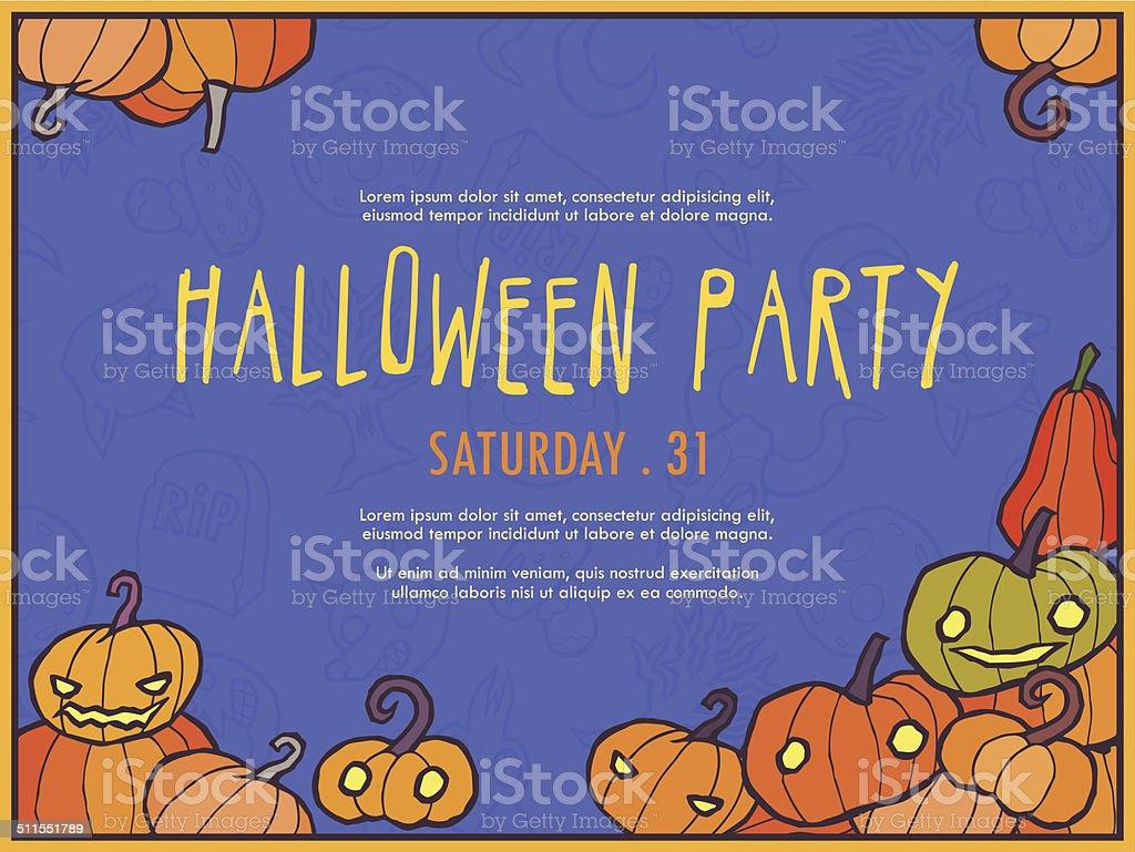 halloween vektoreinladung vorlage mit kürbis vektor illustration, Kreative einladungen