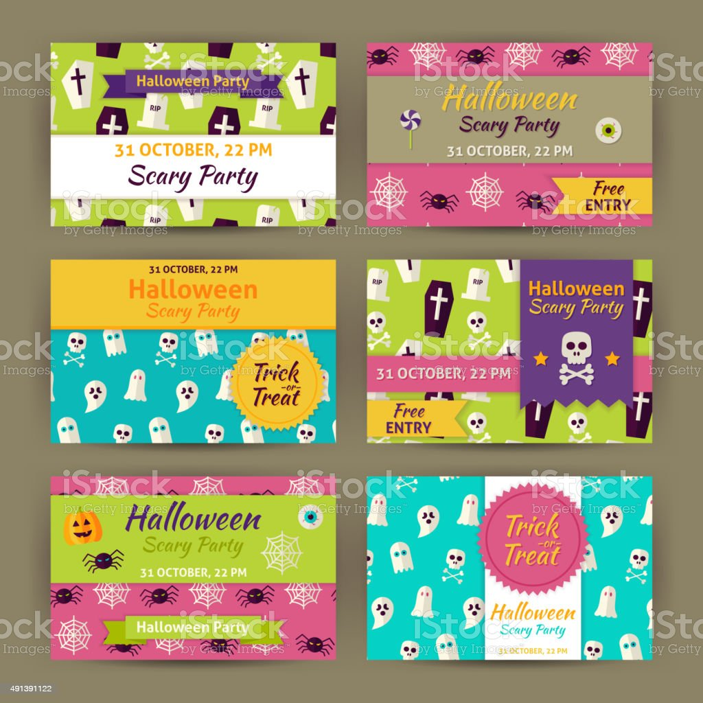 Halloween Vector Party Invitation Template Flat Set vector art illustration