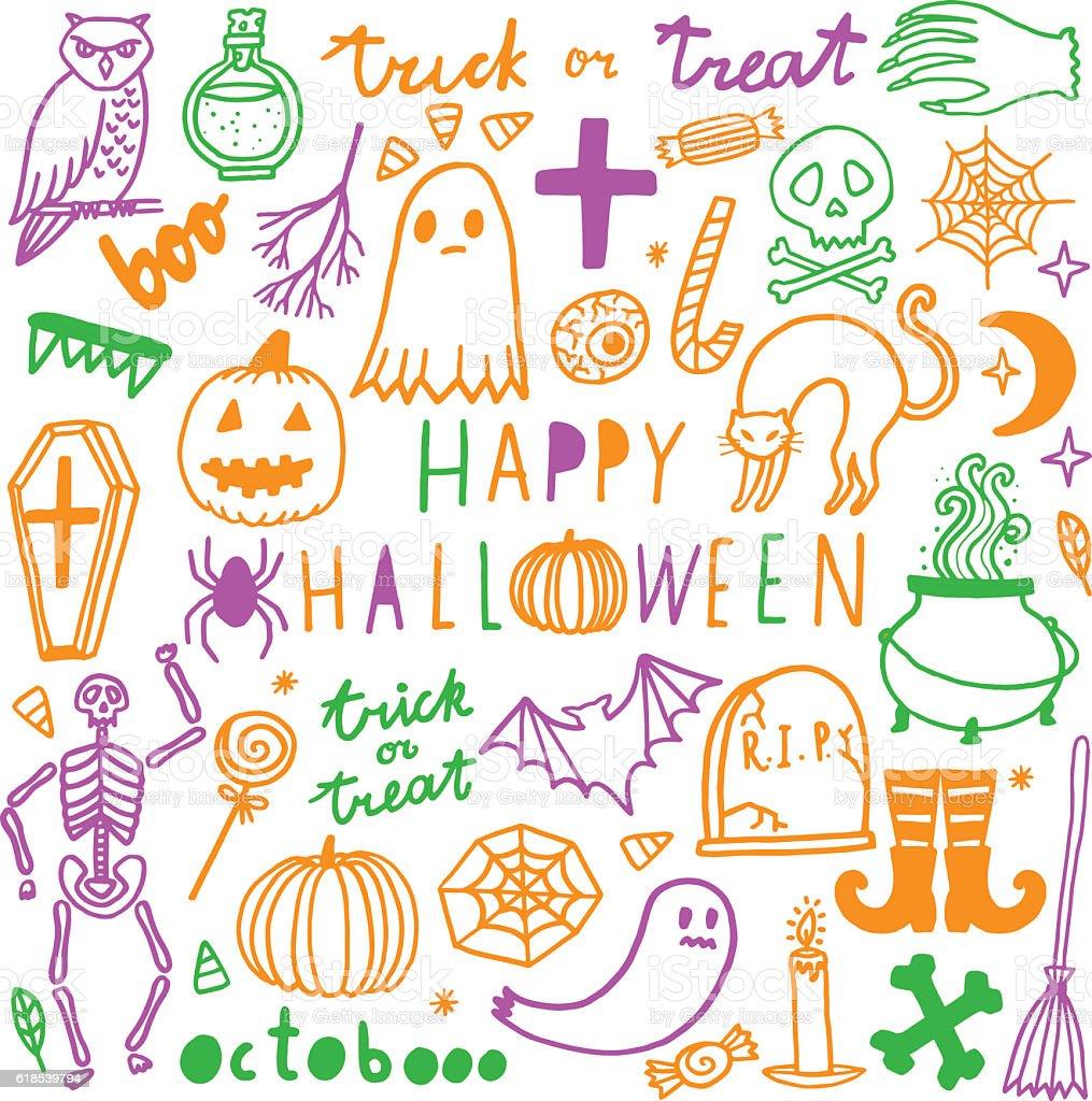 Halloween vector set. Cute icon collection vector art illustration