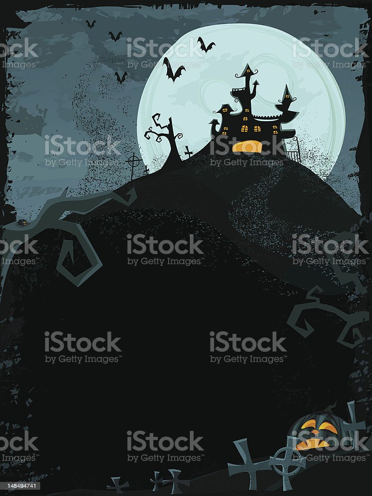 Halloween vector template with haunted castle royalty-free stock vector art