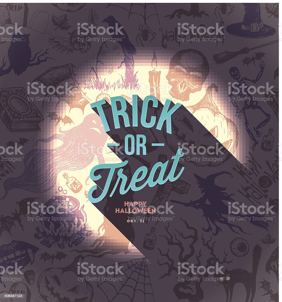 Halloween vector type design on a hand drawn background vector art illustration