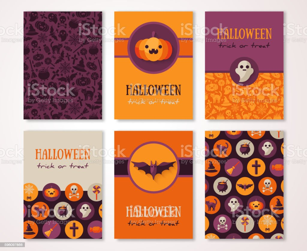 Halloween Vertical Banners with Holiday Symbols vector art illustration