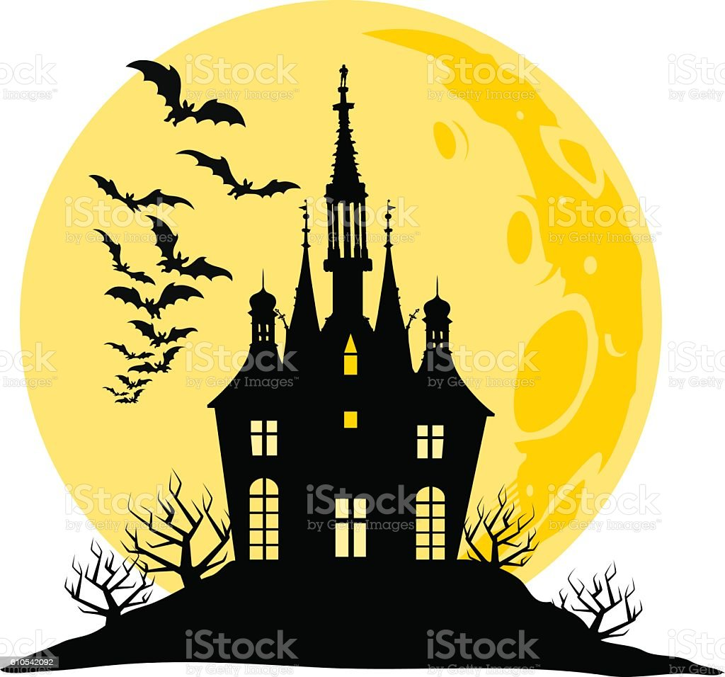 Halloween view of castle, moon, bats and hill silhouette illustration. vector art illustration
