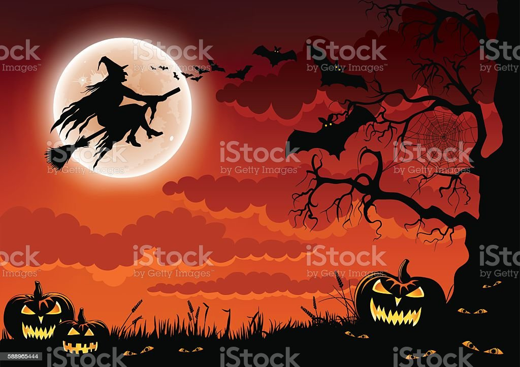 Halloween Wicked Witch vector art illustration