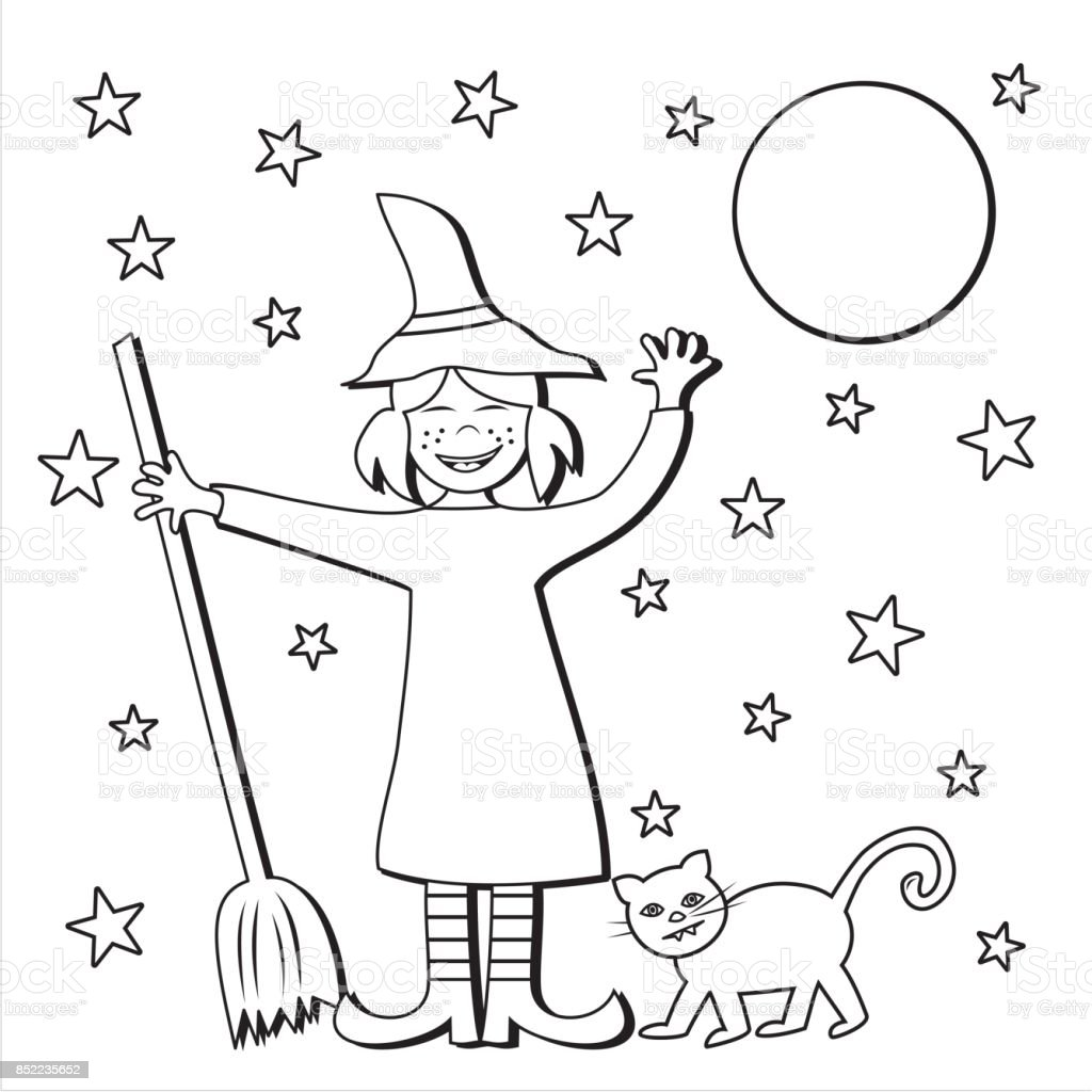Halloween, witch and broom and cat vector art illustration