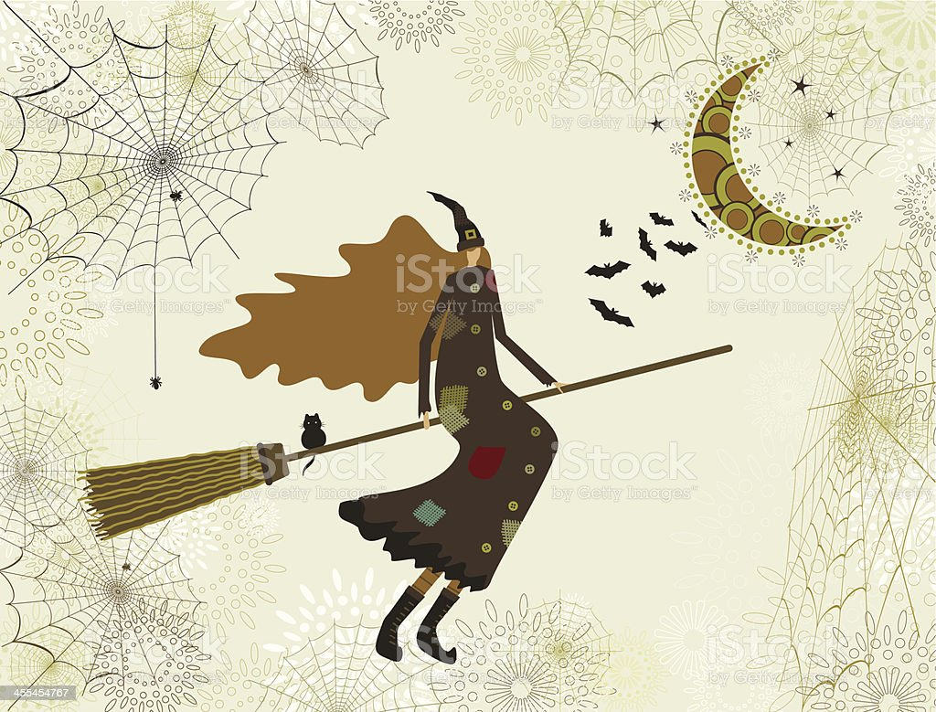 Halloween witch and broom royalty-free stock vector art
