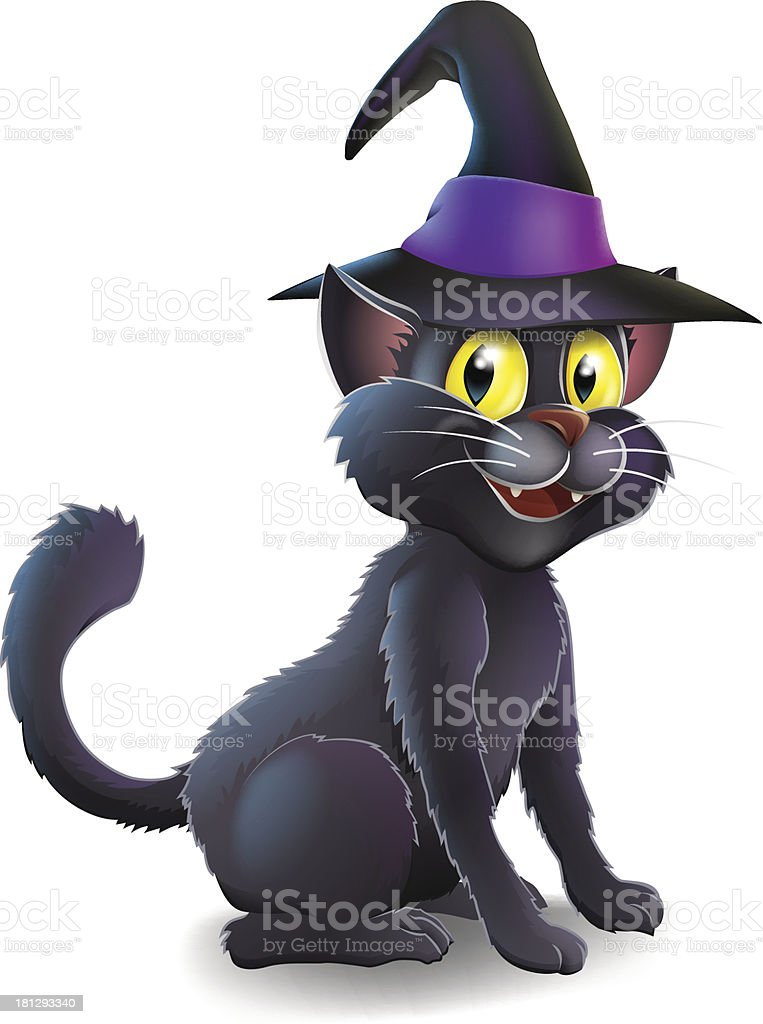 Halloween Witch Cat royalty-free stock vector art